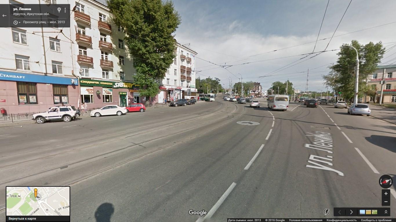 Иркутск, развилка ул. Ленина, 3 Июля и Седова, под асфальтом - старые захоронения. Изображение с Google Maps