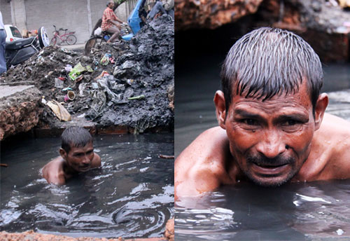 Канализационный дайвер - опаснейшая в Индии профессия. Фото: dailymail.co.uk
